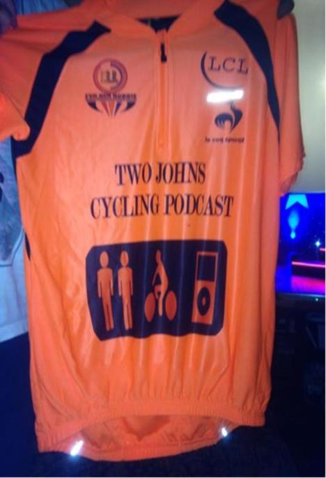 two johns cycling podcast jersey orange