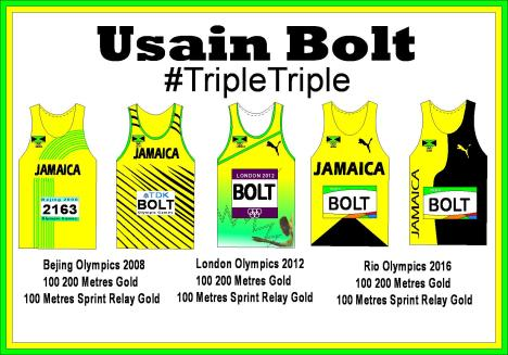 Usain BBolt Singlets White Backgroung